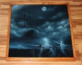 "30x30"" Original Oil Painting - Mermaids Sirens Sailing Ship Dark Night Midnight Moon Foggy Ocean Fantasy Art - Giant Large Wall Art"