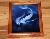 "8x10"" Original Oil Painting - Mermaid Underwater Ocean Sea Dark Blue White Ghost - Fantasy Wall Art"