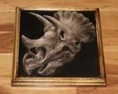 "12x12"" Original Oil Painting - Dinosaur Skull Painting -  Jurassic Park Wall Art Gift for Boys Dinosaur Enthusiast Amateur Paleontologist"