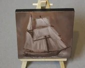 "Original Mini Painting - (4x4"") Sepia Brown Ship of Sail Pirate Ship Sailing, Oil Painting on Canvas with Easel, Apartment Decor, Small Gift"
