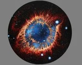 "16"" Round Original Oil Painting - Helix Nebula Birth of Stars Eye Galaxy Starry - Deep Space Outer Space Astronomy Science Wall Art"