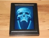 "4x6"" Original Oil Painting - Human Skull Painting -  Neon Fluorescent Blue Screaming Skull - Macabre Decor Wall Art Gift for Men"