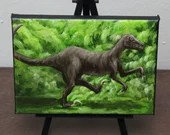"5x7"" Mini Original Oil Painting - Dinosaur Raptor Velociraptor Wall Art Gift for Boys Jurassic Park Enthusiast Amateur Paleontologist"