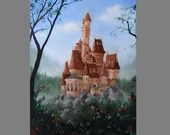 "Art PRINT - Enchanted Castle Roses Beauty and the Beast -  Fantasy Landscape Wall Art - Choose Size 4x6"" 5x7"" 8x10"" PRINTS"
