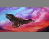 "12x24"" Original Oil Painting - Brown American Eagle Bird of Prey Sunset Sunrise Clouds Cloudy Sky -  Birds Ornithology Animal Wall Art"
