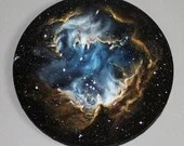 """16"""" Round Original Oil Painting - NGC 602 Nebula Blue Brown Starry Stars Galaxy - Outer Space Astronomy Science Wall Art"""