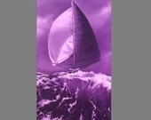 "10x20"" Original Oil Painting - Purple Violet Sailing Ship Sailboat Ocean Sea Waves - Seascape Canvas Wall Art"