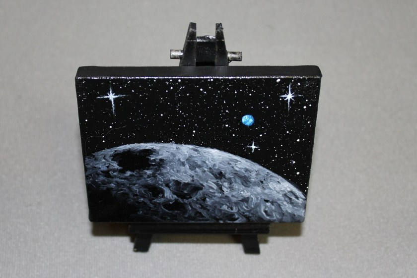 """RESERVED - Original Mini Painting - (3x4"""") Deep Space Moon Earth Planet Planets Bright Stars - Oil Painting on Easel - Dollhouse Painting"""