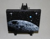 "RESERVED - Original Mini Painting - (3x4"") Deep Space Moon Earth Planet Planets Bright Stars - Oil Painting on Easel - Dollhouse Painting"