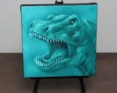 "6x6"" Mini Painting, Original Oil Painting - Dinosaur Face Growl T-Rex Wall Art Gift for Boys Jurassic Park Enthusiast Amateur Paleontologist"