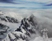 "12x12"" Original Oil Painting - Lomnica Mountain Snowy Tatra Mountain Range Slovakia Ski Heaven Landscape - Canvas Painting Wall Art"