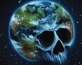"""12x12"""" Original Oil Painting - Earth Environment Space Skull Painting -  Macabre Halloween Decor Wall Art Gift for Men"""