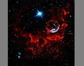 "Art PRINT - Red Blue Bubble Nebula - Outer Space Galaxy Astronomy Wall Art - Choose Size 8x8"", 10x10"" 12x12"" PRINTS"