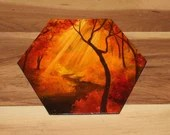 "5-6"" Original Mini Oil Painting Hexagon Flat Panel - Orange Red Autumn Path Forest Landscape - Small Canvas Wall Art"