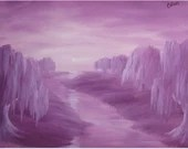 "12x16"" Original Oil Painting - Mauve Moonlight River Weeping Willows - Landscape Wall Art"