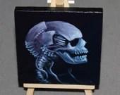"4x4"" Mini Original Oil Painting - Human Cyborg Robot Skull Painting -  Macabre Decor Wall Art Pirate Gift"