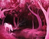 "12x16"" Original Oil Painting - Pink White Unicorn Magical Horse River Stream Woods Trees - Enchanted Forest Landscape Wall Art Girl's Room"