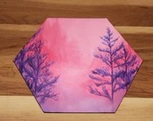 "5-6"" Original Mini Oil Painting Hexagon Flat Panel - Pink Purple Trees Valley Forest Landscape - Small Canvas Wall Art"