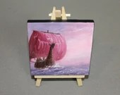 "RESERVED - Original Mini Painting - (4x4"") Pink Purple Pastel Viking Longboat Ship Sailing, Oil Painting on Canvas + Easel, Apartment Decor"