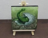 "Original Mini Painting - (3x4"") Dinosaur Egg Hatching Oil Painting on Easel  Gift for Boys Jurassic Park Enthusiast Amateur Paleontologist"