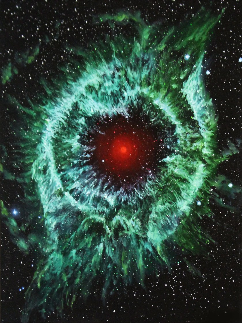 """RESERVED - 12x16"""" Original Oil Painting - Helix Nebula Galaxy Painting - SciFi Outer Space Wall Art"""