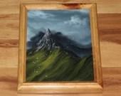 "8x10"" Original Oil Painting - Foggy Cloudy Blue Green Mountain Range Mountaintop Birds - Landscape Wall Art"
