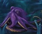 "10x20"" Original Oil Painting - Purple Octopus Cephalopod - Underwater Seacreature Oceanlife Wall Art"