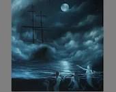 "Art PRINT - Midnight Mermaids Sirens Dark Blue Foggy Night Ship Sailing Ocean - Fantasy Wall Art - Choose Size 8x8"", 10x10"" 12x12"" PRINTS"