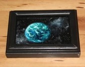 "4x6"" Original Mini Oil Painting - Blue Green Earth-like World Planet Outer Space Starry Spacescape - Small Canvas Wall Art"
