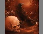 "Art PRINT - Dark Forest Crow Raven Human Skull Scary Horror Spooky Fantasy Animal Wall Art - Choose Size 8x8"", 10x10"" 12x12"" PRINTS"