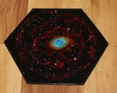 """5-6"""" Original Mini Oil Painting Hexagon Flat Panel - Ring Nebula Galaxy Deep Space Outer Space Starry Spacescape - Small Canvas Wall Art"""
