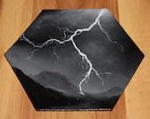 "5-6"" Original Mini Oil Painting Hexagon Flat Panel - Black White Lightning Storm Mountain Landscape Cloudy Sky  - Small Canvas Wall Art"