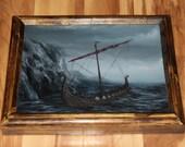 "8x10"" Original Oil Painting - Viking Ship Longboat Waves Ocean Mountains Boat Sailing Blue Sea - Seascape Scenery Wall Art"