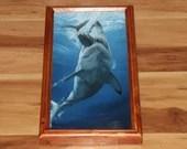 "8x16"" Original Oil Painting - Blue Gray Shark Eating Fish Bite Jaws Scary Dark Art - Underwater Seacreature Oceanlife Wall Art"