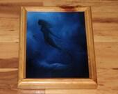 """8x10"""" Original Oil Painting - Mermaid Underwater Ocean Sea Dark Blue Shadow - Fantasy Wall Art"""
