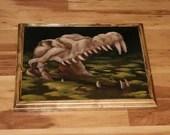 "12x16"" Original Oil Painting - Alligator Crocodile Swamp Skull Painting - Dark Art - Macabre Halloween Decor Wall Art Gift for Men"