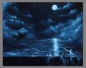 "Art PRINT - Midnight Mermaids Sirens Dark Blue Foggy Night Ship Sailing Ocean - Fantasy Wall Art - Choose Size 4x6"" 5x7"" 8x10"" 12x16"" PRINTS"