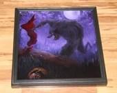 "20x20"" Original Oil Painting - Werewolf Wolf Red Riding Hood Evil Monster Full Moon Forest Dark Fairytale Art - Fantasy Landscape Wall Art"