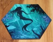 "5-6"" Original Mini Oil Painting Hexagon Flat Panel - Green Blue Mermaid Underwater Fantasy Creature Ocean Sea - Small Canvas Wall Art"
