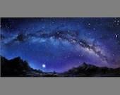 "Art PRINT - Blue Milky Way Galaxy Mountains Moon Landscape - Choose Size 5x10"", 6x12"" 8x16"" PRINTSandscape Scenery Wall Art"