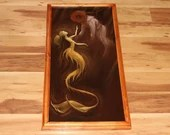 "12x24"" Original Oil Painting - Mermaid Underwater Old Deep Sea Diver Diving Ocean Dark Brown Gold Yellow - Fantasy Wall Art"