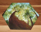 """5-6"""" Original Mini Oil Painting Hexagon Flat Panel - Green Trees Summer Looking Up Forest Landscape - Small Canvas Wall Art"""