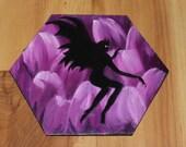 "5-6"" Original Mini Oil Painting Hexagon Flat Panel - Spooky Creepy Evil Flower Fairy Fae Dark Fantasy Forest - Small Canvas Wall Art"