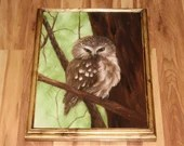 """12x16"""" Original Oil Painting - Brown Owl Bird Green Forest Baby Owl Ornithology Owls Birds - Forest Landscape Animal Wall Art"""