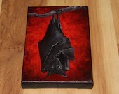 "4x6"" Original Mini Oil Painting - Red Black Fruit Bat Night Forest Creature Vampire Bat Dark Gothic Art - Small Canvas Wall Art"