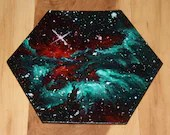 """5-6"""" Original Mini Oil Painting Hexagon Flat Panel - Green Red Dragon Nebula Galaxy Outer Space Stars Spacescape- Small Canvas Wall Art"""