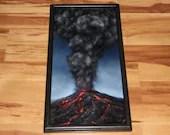 "12x24"" Original Oil Painting - Mountain Volcano Eruption Explosion Lava Magma Smoke - Landscape Wall Art"