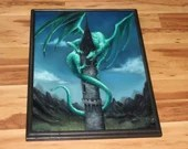 """18x24"""" Original Oil Painting - Green Emerald Dragon on Castle Tower Medieval Fantasy Landscape - Large Canvas Wall Art"""