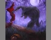 "Art PRINT - Werewolf Wolf Little Red Riding Hood Dark Enchanted Forest Fantasy Wall Art - Choose Size 8x8"", 10x10"" 12x12"" PRINTS"