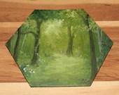 "5-6"" Original Mini Oil Painting Hexagon Flat Panel - Green Trees Flowers Vines Grove Sunlight Forest Landscape - Small Canvas Wall Art"
